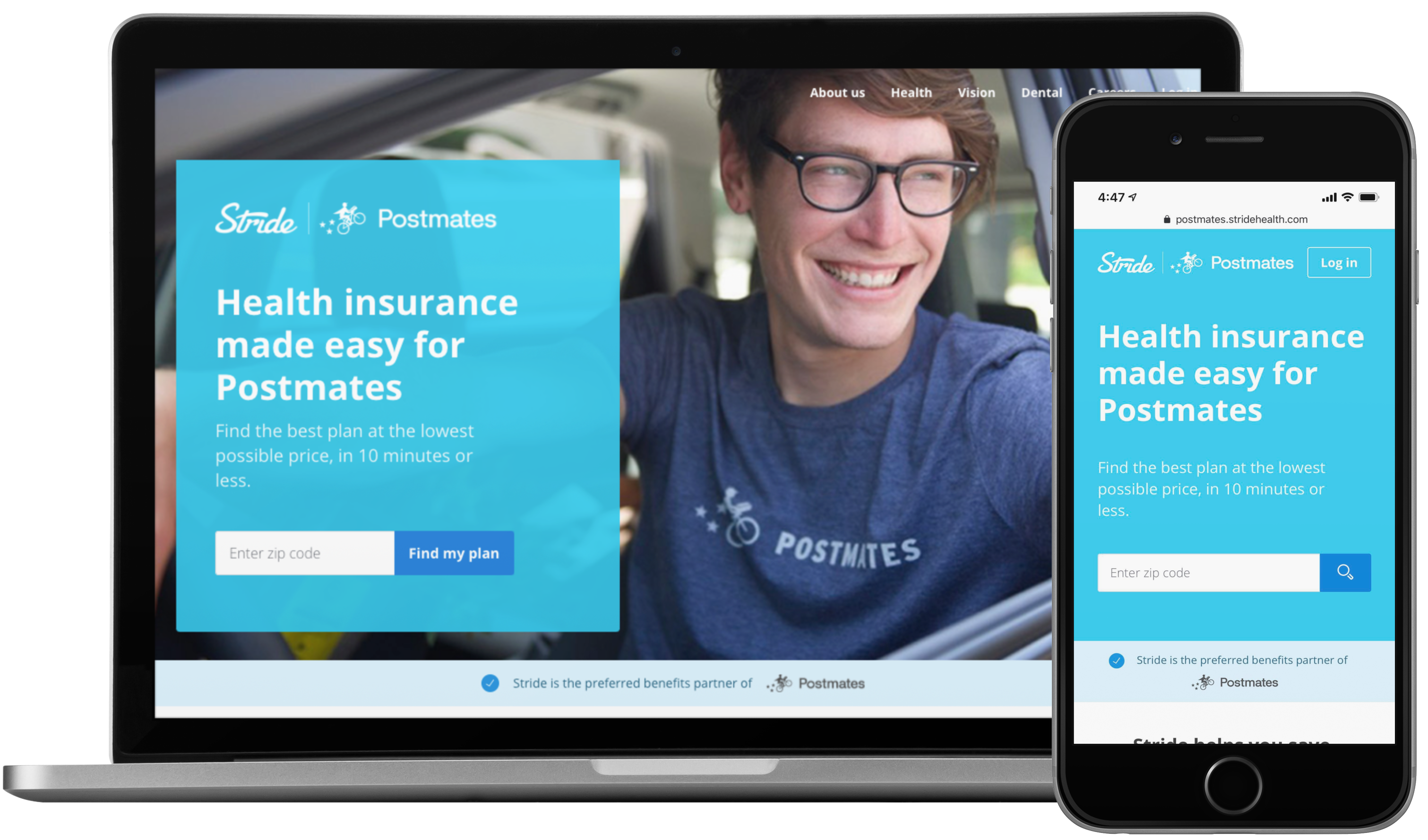 Stride Co-branded health insurance portal